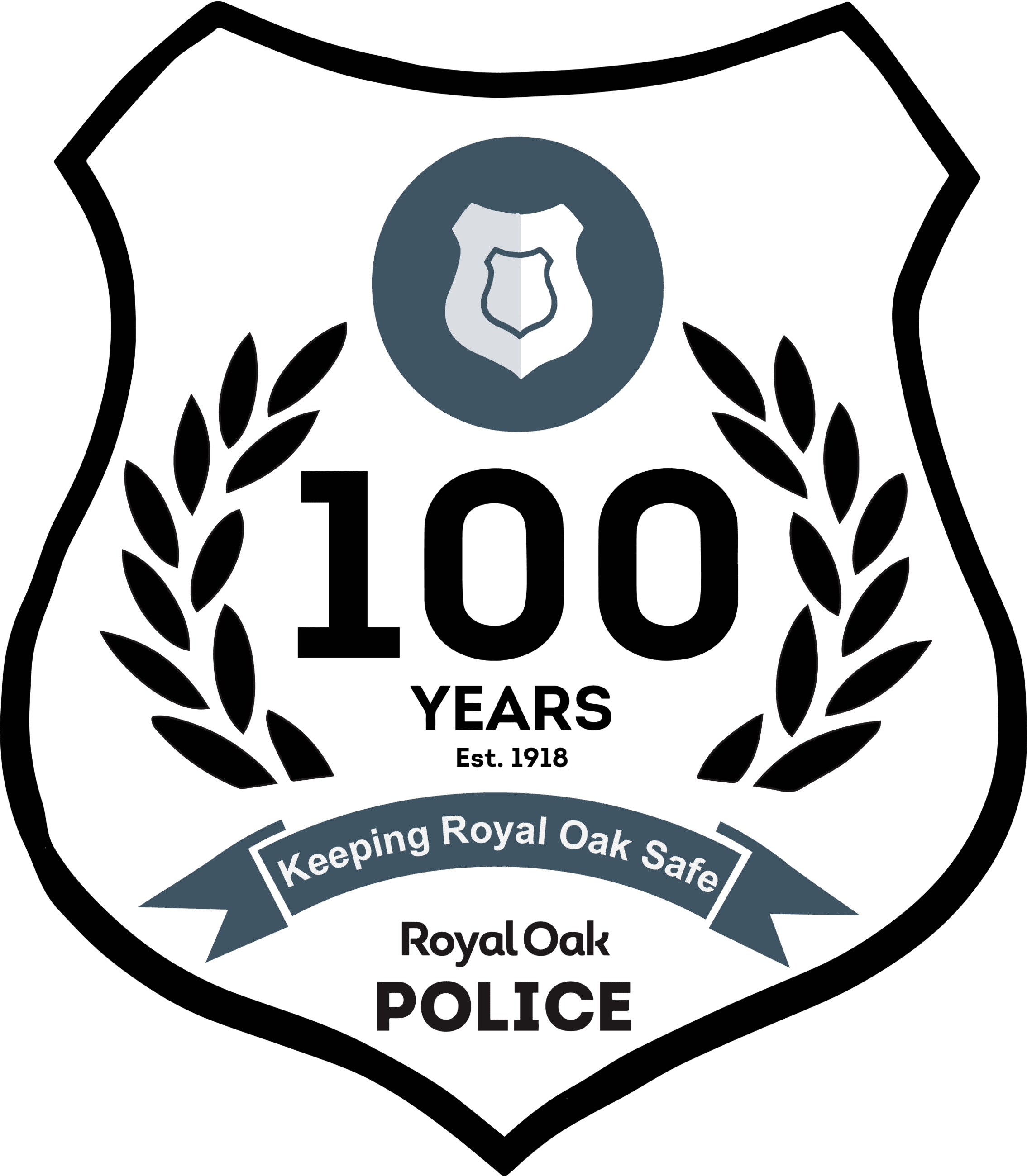 ROPD 100 Years Logo - Black with Badge